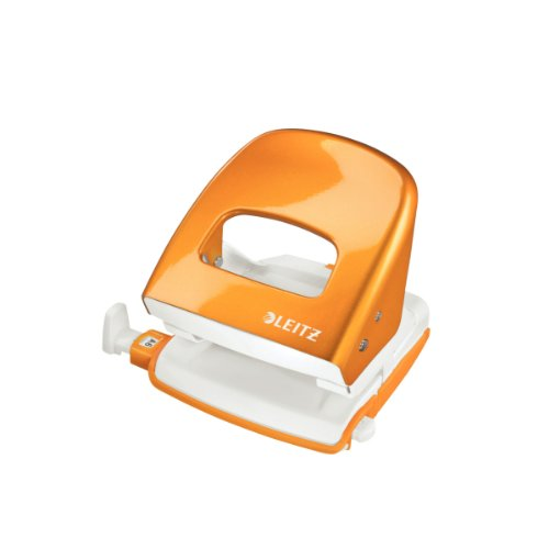 Leitz 50082044 Bürolocher NeXXt, Metall, 30 Blatt, Blisterverpackung, orange metallic