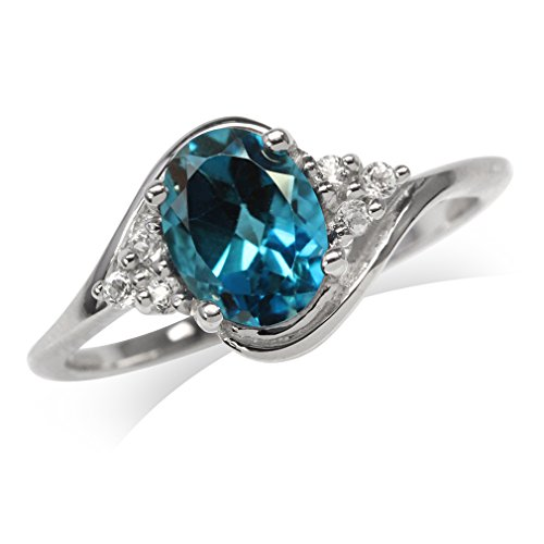 1.36ct. Genuine London Blue Topaz White Gold Plated 925 Sterling Silver Engagement Ring Size 5 (Ring Topaz Genuine Engagement)