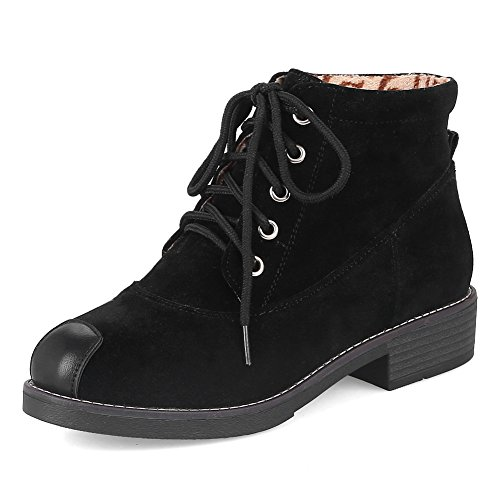 Bootie Boots Black Suede Toe Cap up Round fereshte Women's Toe Fashion Flat Heel Martin Lace Block qwq6XZxF