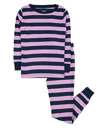 Leveret Striped 2 Piece Pajama Set 100% Cotton (2 Toddler, Purple & Navy)