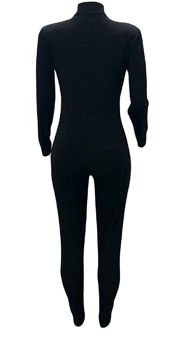 Cromoncent Womens Slim Long Sleeve Stretch Zip Butt Lift Club Bodysuit Jumpsuits
