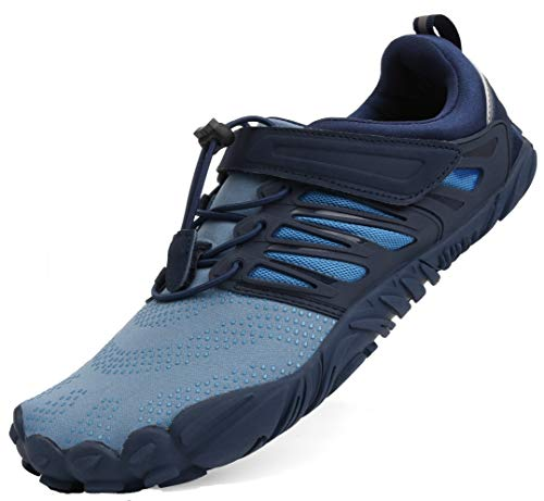 WHITIN Men's Minimalist Barefoot Shoes Low Zero Drop Trail Running 5 Five Fingers Wide Toe Box for Male Minimus Parkour Road Sport Beach Blue Size 9.5