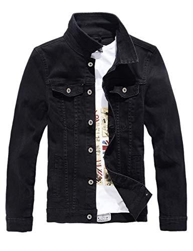 DSDZ Men`s Classic Slim Fit Motorcycle Denim Jacket Coat Black S(Asian L) (Jacket Motorcycle Denim)