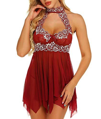 Women One Piece Babydoll Teddy Lingerie Deep V Lace Bodysuit Mesh Sleepwear (Wine Red, XL)