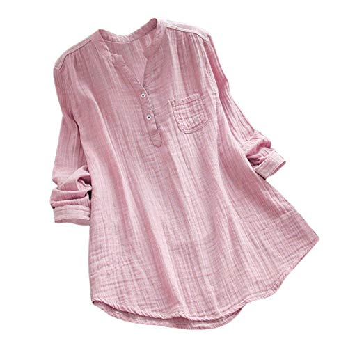 (Blouse for Women Stand Collar Long Sleeve V-Neck Casual Loose Tunic Tops Solid T Shirt Blouses Fashion Tees)