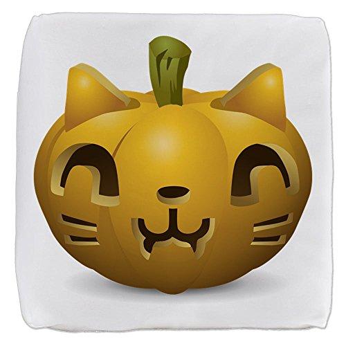 Truly Teague 13 Inch 6-Sided Cube Ottoman Kitty Cat Halloween Jack-O-Lantern