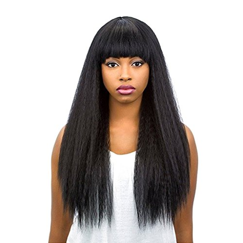 Alice Hair 150% Density Kinky Straight Lace Front Human Hair Wigs With Bangs Glueless Italian Yaki Straight Virgin Hair Full Lace Human Hair Wigs For Black Women (18 Inch 150%Density, - Fedex Are What Business Days For