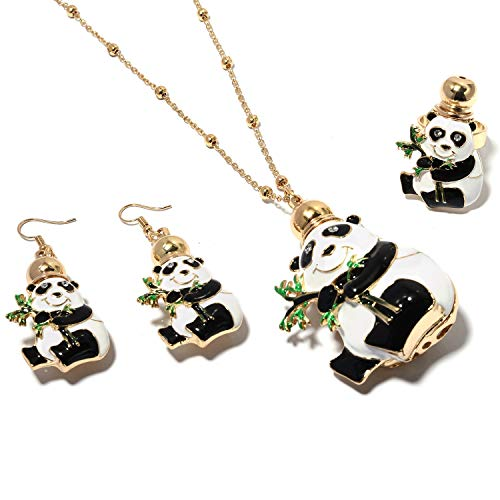 Enameled Perfume Bottle - Shop LC Delivering Joy Goldtone Crystal Enameled Panda Perfume Bottle Ring Size 8 Earrings & Chain Pendant Necklace Set 27