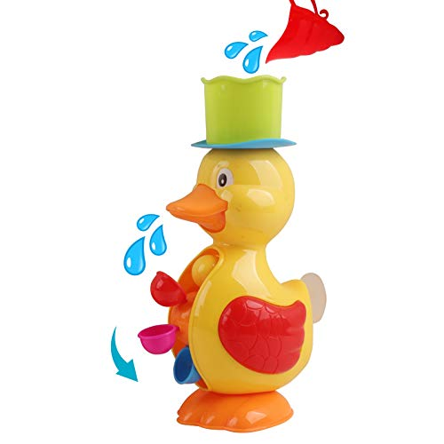 Vokodo Duck Bath Toy 11 Inch Interactive With Colorful Spinning Water Wheel Perfect For Bathtub Fun Beach Play Kids Fill And Flow Waterfall Great Gift For Young Children Toddlers Baby Infant Boys Girl