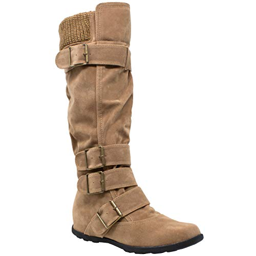 (Womens Mid Calf Knee High Boots Ruched Suede Knitted Calf Buckles Rubber Sole Taupe SZ)