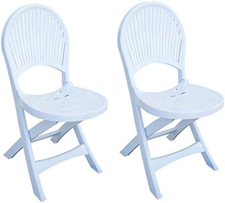 Bo Time - Juego de sillas de jardín de plástico Plegables, Color Blanco: Amazon.es: Jardín