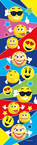Four Sided Library - 24 Emoji Bookmarks for Kids - Colorful Glossy Two Sided Emoticon - Birthday Party Supplies - Reading Incentives - School Student Prizes (Multi Colored Emoji)