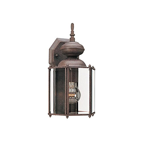 Sea Gull Lighting 8509-26 Single-Light Classico Outdoor Wall Lantern with Clear Beveled Glass, Sienna