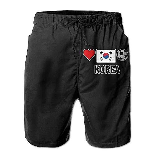 Korea Football Soccer-1 Mens Printing Beach Shorts Drawstring Bathing Suit with Pockets