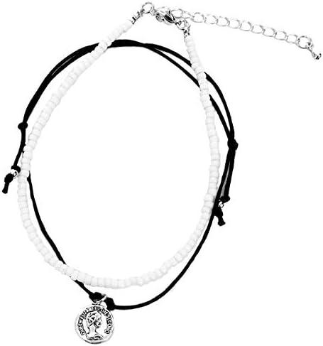 [해외]발목 장식 남성 비즈 액세서리 2 연 트윈 실버 동전 참 발목 팔찌 / Anklet Men`s Bead accessories 2 series twin silver coin charm ankle bracelet