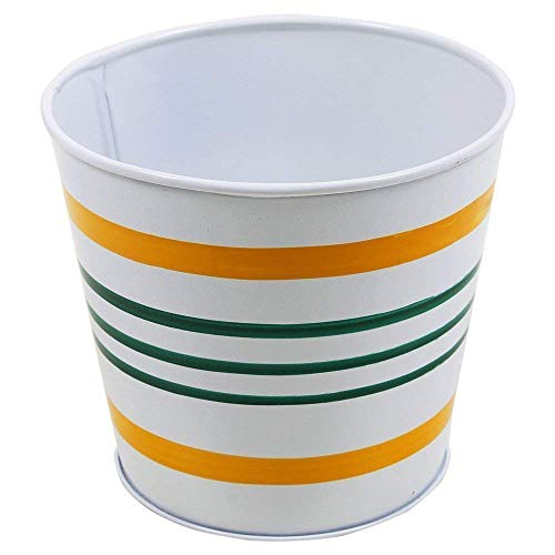 storeindya Metal Bucket Planter Galvanized Indoor Outdoor Flower Pot Container Garden Accessories (White-Yellow-Blue Striped)