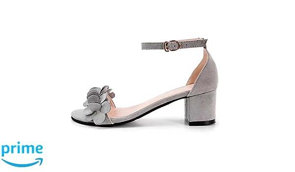 JJLOVE Women Women Ladies Block High Heel Sandals Flowers