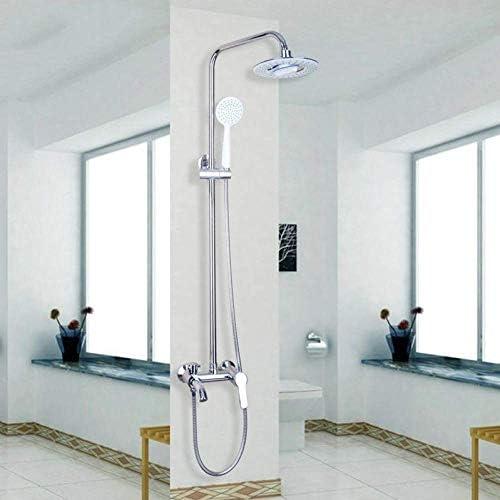 八瀬・王 クロームクラシック8インチ真鍮クロームレインシャワーヘッド、バスミキサー蛇口付ハンドシャワーミキサータップ