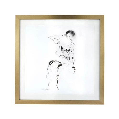 Gilded Barn Charcoal and Ink Nude with Gold Leaf Frame