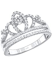 D Jewelry 925 Sterling Silver Princess Tiara Cz Crown Band Ring (6)