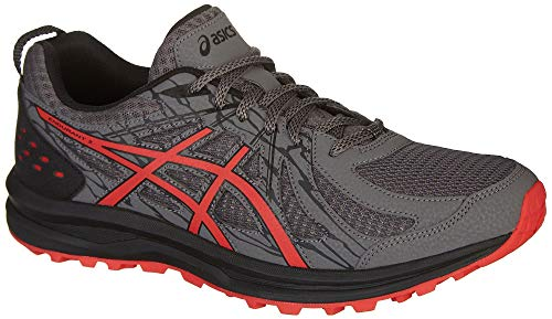 ASICS 1011A138 Men's Frequent Trail (4E) Running Shoe, Carbon/Red Alert - 8.5 (Best Cushioned Running Shoes For Men)