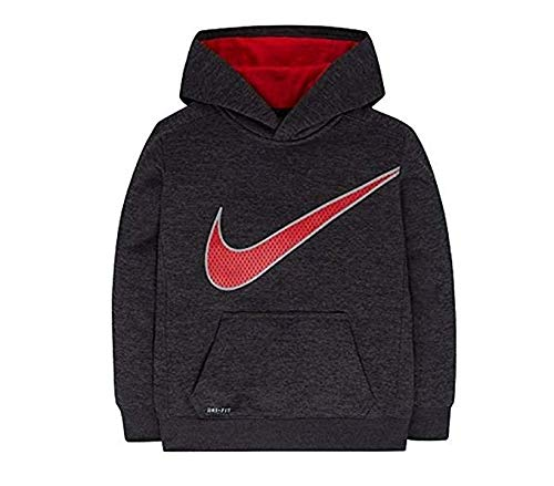 Nike Little Boys Therma Fit Fleece Space Dyed Hoodie, Black/Red (6)