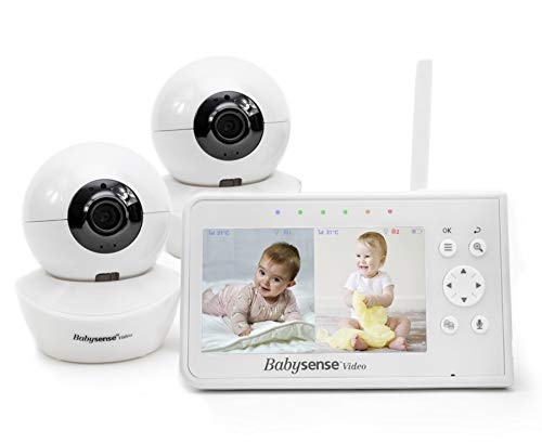 Baby-Monitor-Babysense-43-Split-Screen-Video-Baby-Monitor-with-Two-Cameras-and-Audio-Remote-PTZ-960ft-Range-Open-Space-Adjustable-Night-Light-Two-Way-Audio-Zoom-Night-Vision-Lullabies
