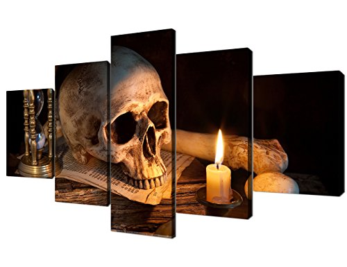 Yatsen Bridge Modern Canvas Wall Art Scary Skull Burning Candle 5 Panel Painting for Living room Home Decor Prints and Poster Pictures New Year Gifts Stretched and Framed Ready to Hang (60x32inch)