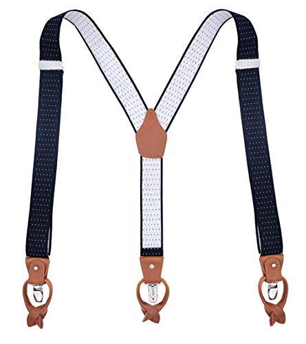 MENDENG Heavy Duty Suspenders for Men Leather Black Dot Braces 6 Buttons Gift ()