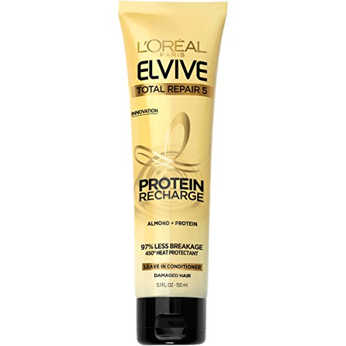 L'Oréal Paris Elvive Total Repair 5 Protein Recharge Leave In Conditioner Treatment, and Heat Protectant, 5.1 Ounce (Packaging May Vary) (Best Leave In Conditioner For Color Treated Hair)