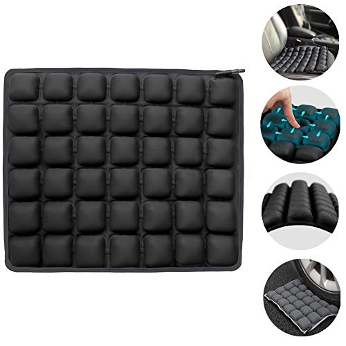 Haerniubi Seat Cushion Air Inflatable Chair Pad for Wheelchair, Office Chair, Cars, Home Living, Pressure Relief Pillow, Adjustable Volume & Softness Non-Slip Hip Protector (Black)
