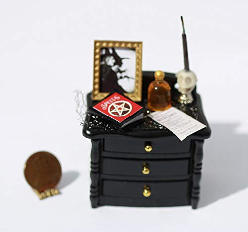 Dollhouse Miniature Halloween Decorated Black Night Stand