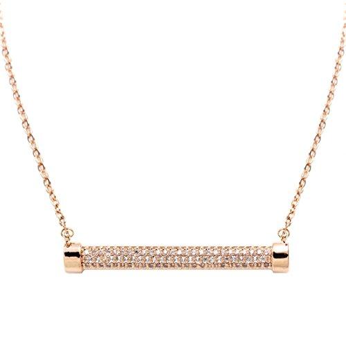 FC JORY Rose Gold GP CZ Crystal Pendant Chain Stick Bar Necklace
