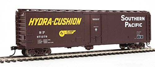 50' PC&F Insulated Boxcar - Ready to Run -- Southern Pacific(TM) #671279 (Boxcar Red, yellow Hydra Cushion Markings) - Ho Southern Pacific Boxcar