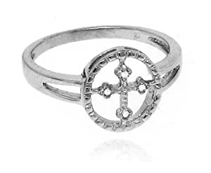 Sterling Silver 925 Genuine Diamond Accents .04cts (Color H-I, Clarity I3) Cu...