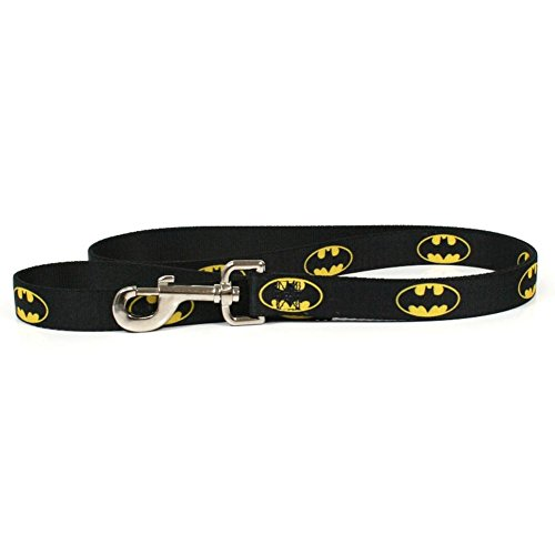 "Buckle-Down Pet Leash - Batman Shield Black/Yellow - 4 Feet Long - 1"" Wide"