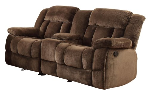 Dual Rocking Reclining Loveseat - Homelegance 9636-2 Laurelton Textured Plush Microfiber Dual Glider Recliner Love Seat with Console, Chocolate Brown