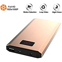 Hidden Camera Power Bank, KAMRE HD 1080P 10000mAh Power Bank Nanny Cam Night Vision Motion Activated Spy Security Camera with Digital Power Display, Golden