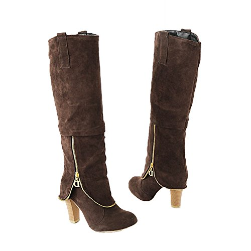 Grau aus knielange Velourslederimitat Damen Stiefel High Heel w1UxRqSY