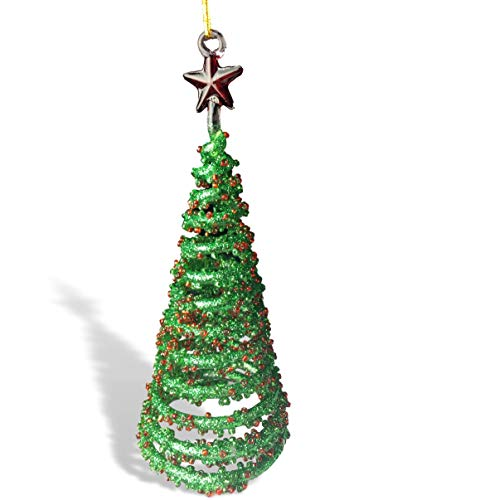 BANBERRY DESIGNS Red and Green Christmas Tree Ornaments - Set of 2 Spun Glass Trees with Glitter and Stars - Gift Boxed (Spun Tree Ornament Glass)