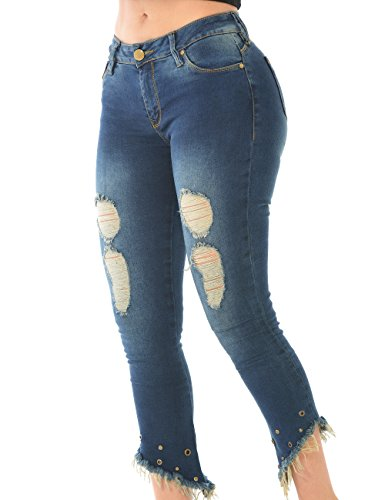 Curvify Frayed Hem Push up Jeans | Cropped Ripped Butt Lift Jeans | Jeans Levanta (Apple Bottoms Womens Clothing)
