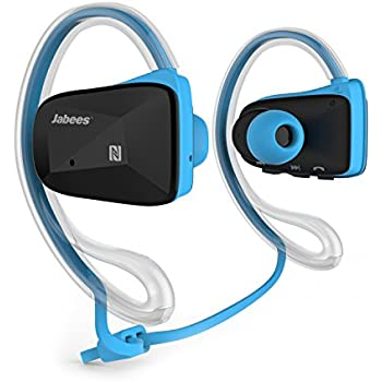 Jabees BSport Bluetooth V4.1 Sweatproof Waterproof Sports Stereo Headphones with NFC ATPX for Running Jogging and Earhook - Blue