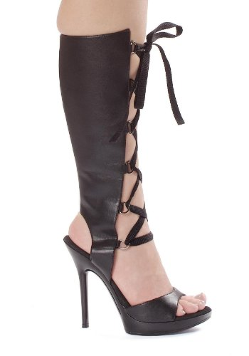 (Ellie Shoes Women's 5 Inch Heel Knee High Sandal (Black PU;9))