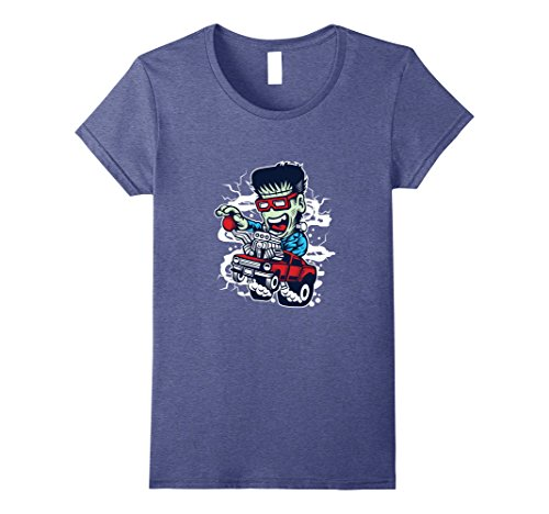 Womens Frankie Hot Rod Halloween T-Shirt Hotrod Racing Shirt Small Heather Blue