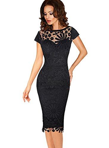 VfEmage Womens Elegant Crochet Flower Lace Party Bodycon Sheath Dress 9080 Blk 14