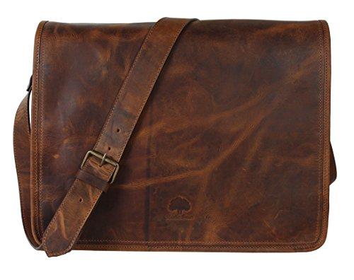 Rustic Town 15 inch Vintage Crossbody Genuine Leather Laptop Messenger Bag Worn Leather Messenger Bag