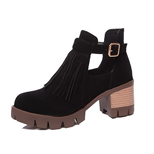 Women's Solid Imitated Suede Kitten-Heels Buckle Round Closed Toe Boots