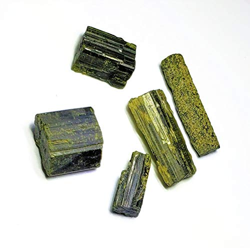 (5pc Raw Green Epidote Pistacite Small & Mini Haystack Logs 100% Natural Healing Crystal Gemstone Rough Specimens from)