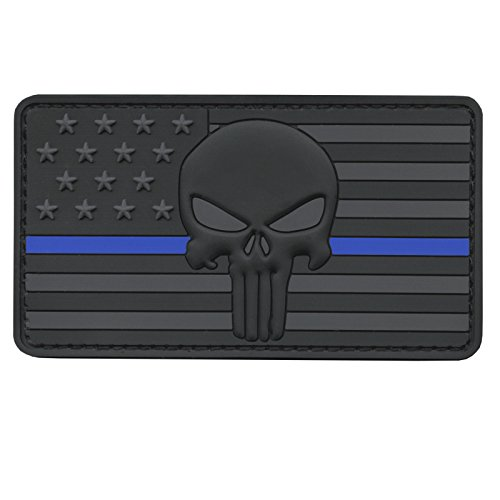 LEGEEON All Black Blue Line Punisher American Flag Morale PVC Rubber Touch Fastener Patch