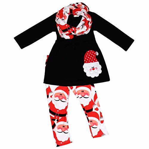 Unique Baby Girls 3 Piece Christmas Santa Claus Legging Set (4T) Red -